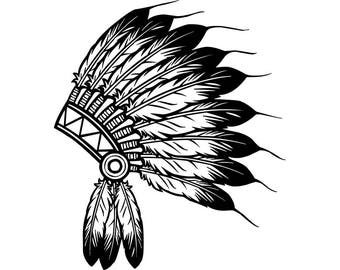 Indian Headdress #3 Native American Head Dress Tribe Chief Costume Ornate Feather Tattoo Logo .SVG .EPS .PNG Vector Cricut Cut Cutting File