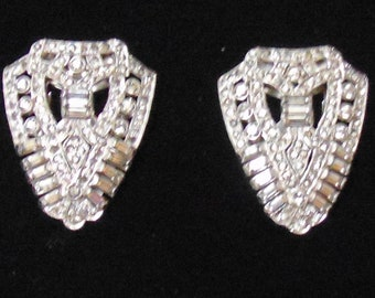 Vintage Unsigned Clear Rhinestone Pair of Dress Clips