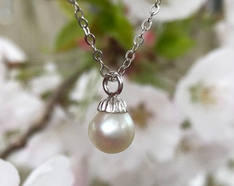 """Vintage 14k White Gold Chain and Cultured Pearl Pendant Vintage 14k WG Solitaire Pearl necklace 18"""""""
