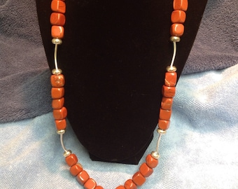 Rusty Red Jasper with sterling accent Necklace