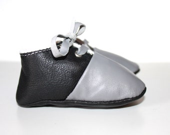 3 - 6  Months Slippers / Baby Shoes Lamb Leather Black Gray