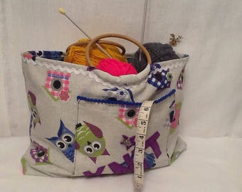 Craft bag, storage bag,knitting bag, sewing tote.