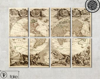 extra large world map canvas art - old world map on 8 panels, antique wall map of the world, home decor, 115