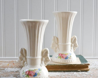 Vintage White Bud Vase Pair - Cream Shabby Ceramic Set with Flowers