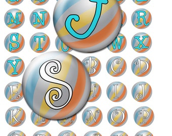 Beachball alphabet bottle cap images 1 inch circles,  Monogram download, 25mm printable circles, Digital collage sheet, Pendants, Magnets