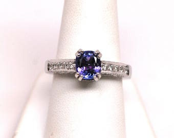 1.50ct Cushion Tanzanite Gemstone & Round Diamond Ring 14k White Gold