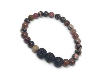 Pink bracelet - natural bracelet - lava bead