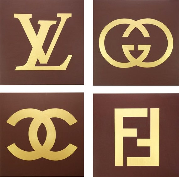 Louis Vuitton Gucci Fendi And Chanel Paintings Set Of Four