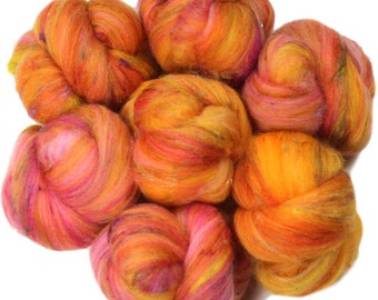Sunny Side battlings -- mini batts (2 oz.) merino wool, bamboo, sari silk, sparkle.
