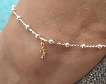 G Clef diamond ,silver ankle bracelet, Musical note 14k gold plated ankle bracelet-adj anklet, Beaded anklet ,  G clef Anklet w/diamond
