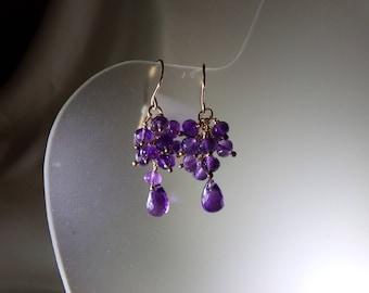 "Amethyst briolette earrings about 1.5"" total  14k gold filled gemstone handmade  item 602"