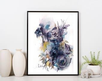 Abstract botanical original watercolor painting, abstract flowers painting, floral watercolour art, abstract realism purple floral painting