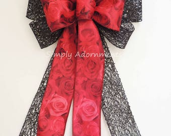 Red Black Rose Christmas Tree Bow Red Black Christmas Wreath Bow Red Rose  Black Net Wedding