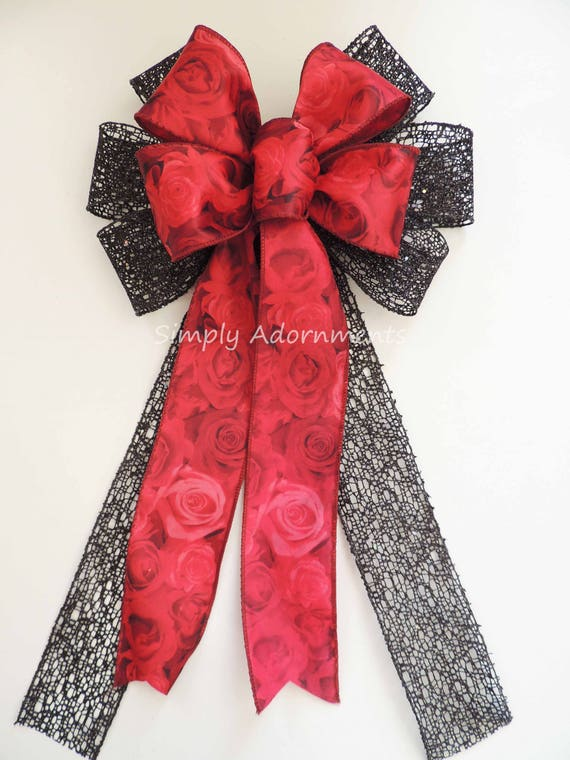 Red Black Rose Christmas Tree Bow Red Black Christmas Wreath