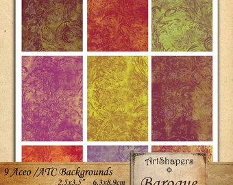 BAROQUE- Aceo backgrounds, jewelry holders,instant download paper,digital collage sheet DCS10
