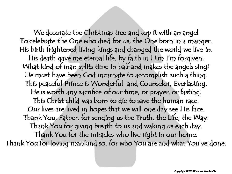 Christmas Poetry Decor Holiday Christmas Tree Photo Poem