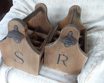 Wooden beer caddy, six pack personalised groomsman gift, Best man gift  Usher Fathers Day Teacher, retirement special birthday gift for him