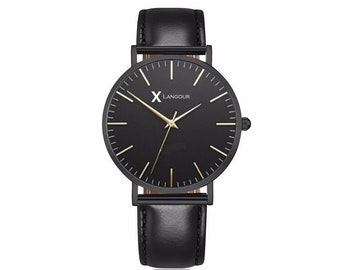 Classic Leather Watch Black-unisex-brand name Langour-