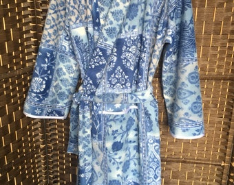 Blue and white flower handmade fleece dressing gown. One size