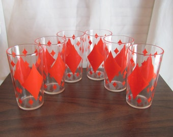Retro Drinking Glasses / Red Diamond Pattern Retro Glasses 12 oz.