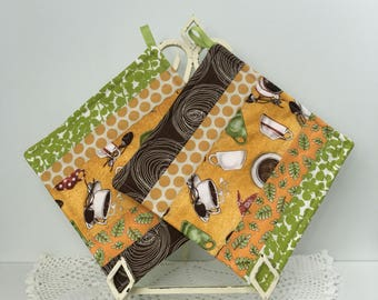 Scrappy Diva Hot Pads - Coffee Break Quilted Pot Holders - Kitchen Hot Pads - Cotton Quilted Pot Holders
