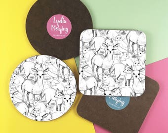 Round or Square Coaster with Woodland Design. A cute pattern of deers, foxes, owls, mice, toadstools and more!