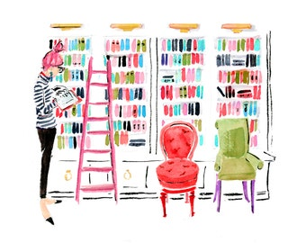 """Art Print: """"In the Library"""" {Book Sketch, Reader, Reading Drawing, Cute sketch, girly, Fashion Illustration, bright }"""
