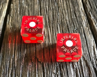 Vintage Red Dice - 2 Imperial Palace Casino Vintage Dice - Casino Dice - Old Dice - Red Dice