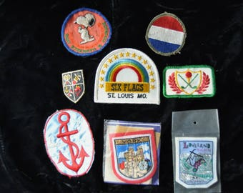 Vintage Patches Destash Set of 8 Value Bundle  60s 70s 80s Travel Snoopy Sports Nautical Shop Craft Supplies Embroidered Sew on Appliques
