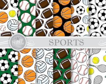 SPORTS Digital Paper   Sports Printables   Digital Downloads   Sports Party Scrapbook Paper Patterns   DIY Craft Printables
