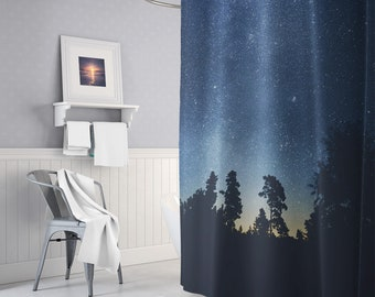 Starry Forest Shower Curtain, Forest Shower Curtain, Nature Bathroom Decor, Forest Shower Curtains, Wanderlust, Curtains, Unique Gifts