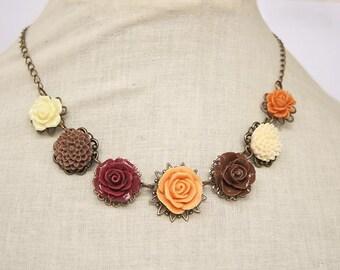 Handmade Rose Necklace Orange Rose Necklace Fall Flower Necklace Brown Flower Bib Necklace Fall Bridesmaids Burgundy Orange Rose Jewelry