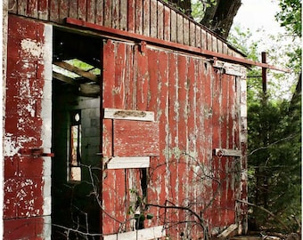 Old Weathered Red Barn Photograph — Open Barn Door Photo Art — Abandoned Building Photo — Dilapidated Barn Wall Art — Sunset Abandoned Barn
