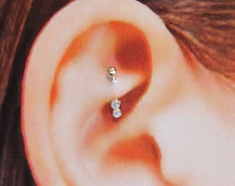 14k Solid Gold 16g Rook,Eyebow,Daith Pierecing Curded Barbell..6mm