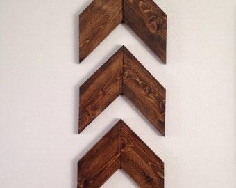 Set of 3 Wood Arrows, Wood Chevron Arrows