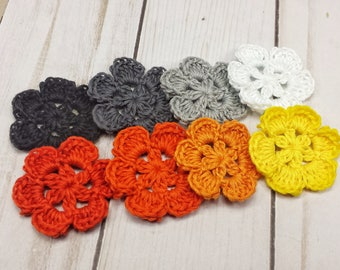 Hand Crocheted Flowers in Halloween Colors,  Crochet Flower Appliques, Handmade Lace Flowers, Crochet Flower Appliques, 1.5 inch Posies
