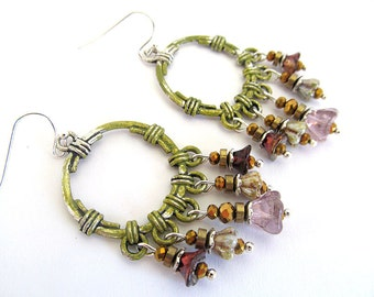 Bohemian Earrings, Flower Dangle Earrings, Chandelier Earrings, Boho Jewelry, Steampunk