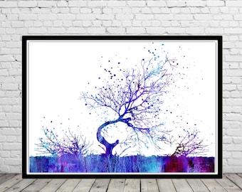 Tree, watercolor tree, old tree print, Tree print, Tree Art, Nature Art, Meditation Art, watercolor tree (2546b)