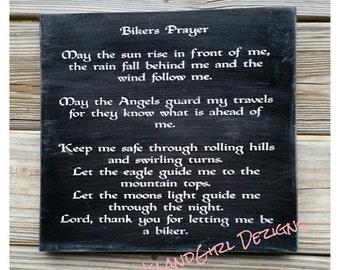 Bikers Prayer Distressed Wooden Sign