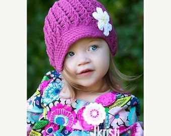 Baby Girl Hat, Newborn Hat, Newsboy Hat, Crochet Baby Hat, Newborn Prop, Girl Newsboy Hat, Baby Girl, Dark Rose