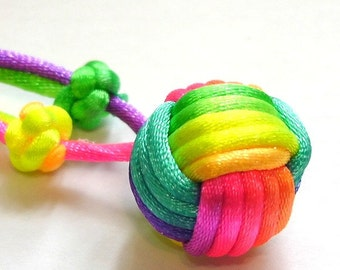 Rainbow Ball Necklace by Monkey Fist Knot - Or choose your color