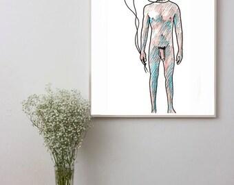 Fetish, gay art, man nudity, Original illustration, Pop Art print, wall decor, pencils painting, erotic art, Homoerotic, BDSM, Naked man art
