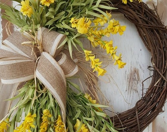 Front door wreaths, Summer wreaths, Home Decor wreaths, Wreath Great for All Year Round - Everyday Wreath, Door Wreath, Yellow floral Wreath