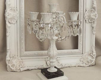 Vintage White Candelabra with Crystals, White Candelabra with Marble, Metal Candle Holder, 5-Arm Candelabra, Shabby Chic Cottage Lighting