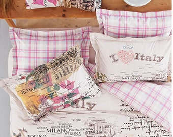UPS!!!ROME Italy  Designed  Double Bedding Set Linens , %100 Coton,Pink