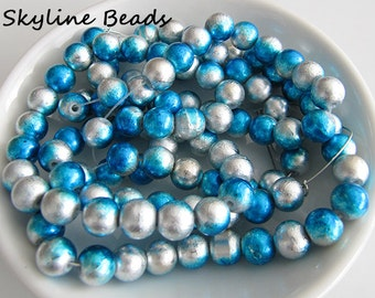 Drawbench Glass Beads, Blue and Silver, Round 8mm - Spray-painted