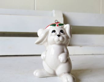 Vintage Fitz and Floyd Bunny Rabbit Ornament with santa hat