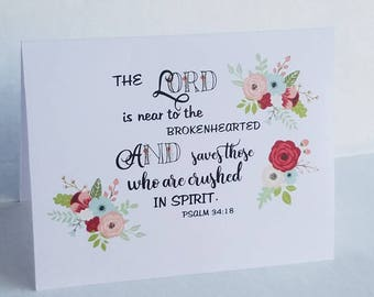 PSALM 34:18 The Lord is near to the brokenhearted Sympathy Thank You Note Cards for Funeral Thank You's grief and bereavement note cards