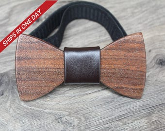 Wedding Bow Tie, Brown Leather Bow Tie , Wood Bowtie, Personalized Bow Tie, Wooden Boy Bow Tie, Bow Tie For Men, Wooden Bow Tie