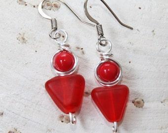 Boho Earrings, Red Drop Earrings, Glass Earrings, Casual Wear, Modern Jewelry, Light Earrings, Red Dangle Earrings, Geometric Jewelry